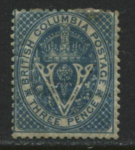 British Columbia 1865 3d blue mint heavy hinged