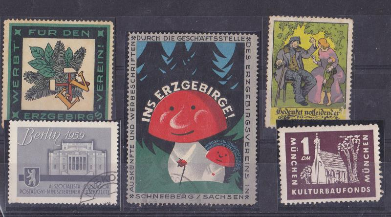 Germany lot of 5 old cinderella poster stamps