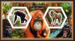 Chad 2014 Primates of the World #3 imperf sheetlet contai...