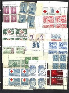 CANADA 16 DIFFERENT PLATE/CORNER BLOCKS MINT NH (BS16085)