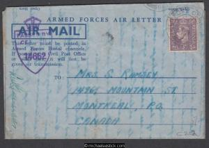 Germany 1945 (Apr) Censored Armed Forces Air Letter to Montreal Canada