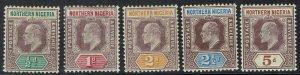 NORTHERN NIGERIA 1902 KEVII 1/2D - 5D WMK CROWN CA