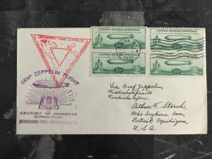 1933 Graf Zeppelin 4 # C18 century Progress First Day Cover New York USA LZ 127
