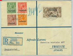BK0239 - MOROCCO Agen. TANGIER - POSTAL HISTORY - Registered COVER to ITALY 1927
