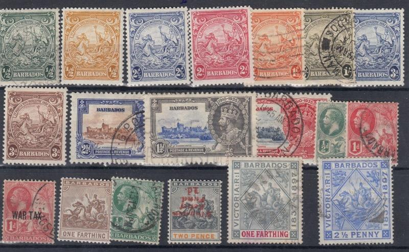 Barbados KGV Collection of 19 Values Mint/VFU J1737