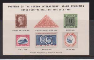 SOUVENIR CARD OF THE LONDON INT'L STAMPS EXHIBITION   LOT#408