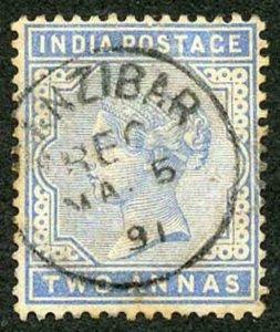 Zanzibar SGZ85 1882-90 India 2a Blue 5 May 91 with CDS (type Z6) Used