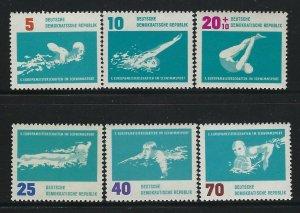 GERMANY DDR - #621-#625 - 1962 EUROPEAN SWIMMING CHAMPIONSHIP MINT SET MNH