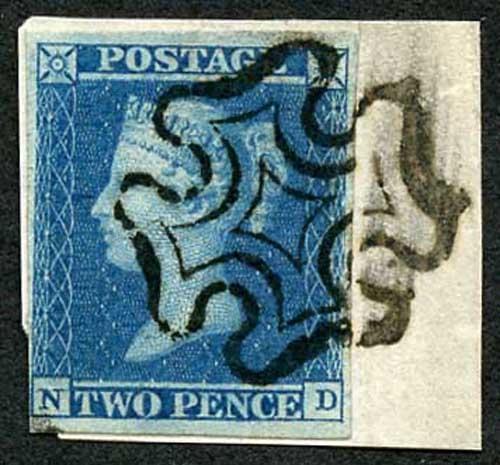 1841 2d Blue (ND) Fine 4 Margin with a Maltese Cross on Piece Cat 275 pounds