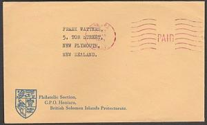 SOLOMON IS 1966 cover to NZ Honiara PAID machine cancel in red.............54362