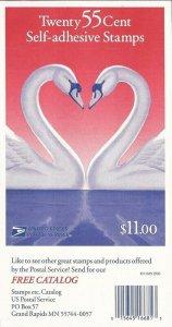 US Stamp - 1997 55c Love Swans - 20 Stamp Booklet - Scott #3124a