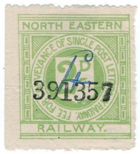 (I.B) North Eastern Railway : Letter Stamp 4d on 2d OP