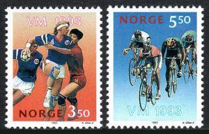 Norway 1040-1041, MNH. World Championships: Team handball, Bicycling, 1993