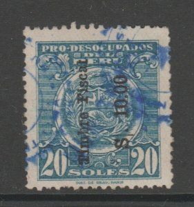 Peru fiscal OP fiscal revenue stamp on Social? stamp 4-8-21- Scarce- 10s on 20s