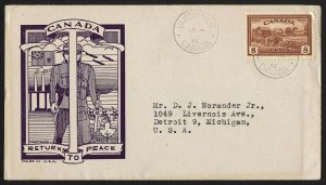 wc075 Canada 1946 Returns to peace 8-cent FDC first day cover cacheted