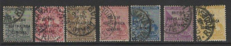 RHODESIA SG58/64 1896 OVERPRINT SET USED