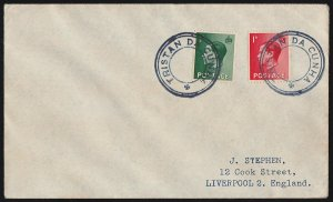 TRISTAN DA CUNHA : 1936 Cover franked KEVIII ½d & 1d, type VII cachet To England