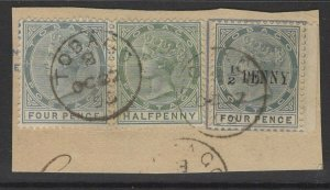 TOBAGO SG30 1892 ½d on 4d GREY USED ON PIECE WITH SG20+22