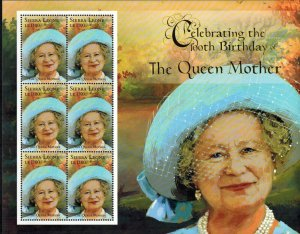Sierra Leone MNH S/S Queen Mother's 100th Birthday 6 Stamps