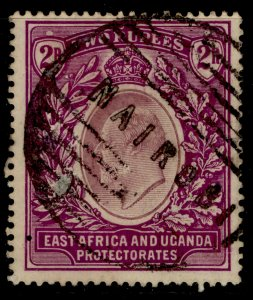 EAST AFRICA and UGANDA EDVII SG27, 2r dull and bright purple, USED. Cat £75.