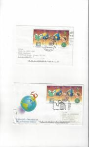 Chile Two Covers W/UN 50th Anniversary, UNESCO and FAO 50th Anniversary Stamps
