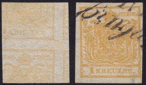 Austria - 1850 - Scott #1a - used - Printed on both sides