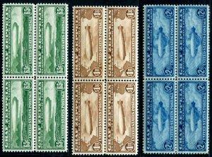 HERRICKSTAMP UNITED STATES Sc.# C13-15 Graf Zeppelin Airmail Blocks NH