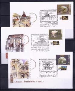 ISRAEL STAMP 2000 MILLENNIUM POPE VISITING CHRISTIAN SITES 3 FDC HOLY LAND SET 1