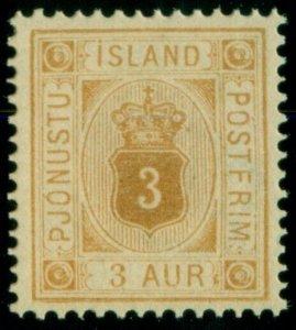 ICELAND #O4 (Tj4) 3aur yellow, og, NH, XF, Scott $145.00+