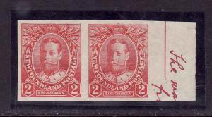 Newfoundland #6505 - Sc#105a-2c carmine KGV -unused,no gum as issued-imperf pair