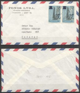 A0546 1961 COLOMBIA TO VENEZUELA ARCHITECTURE ISABELLA I AIR MAIL VERY RARE FDC