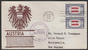 USA 1943 censored FDC to New Zealand - Overrun Nations AUSTRIA.............55600