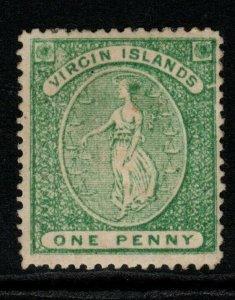 VIRGIN ISLANDS SG9 1870 1d BLUE-GREEN MTD MINT