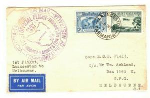 AUSTRALIA Air Mail First Flight Cover Hobart Melbourne 1931 {samwells} PA32