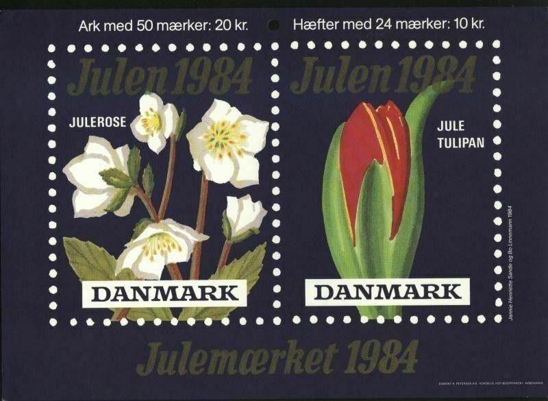 Denmark. Christmas Seal.1984. 1 Post Office,Display,Advertising Sign. Flowers