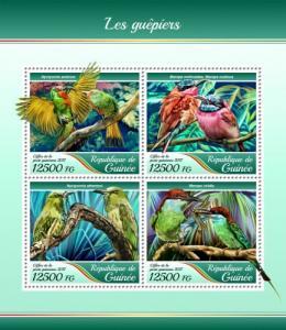 GUINEA - 2017 - Bee-eaters - Perf 4v Sheet - MNH
