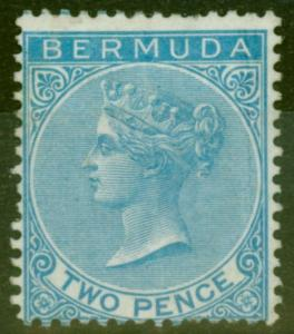 Bermuda 1877 2d Brt Blue SG4 Wmk CC Ave Mtd MInt