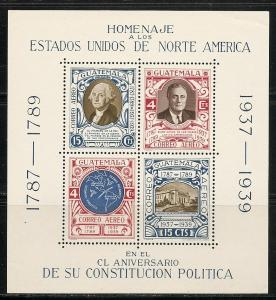 Guatemala C92 1938 150th USA Constitution s.s. MNH