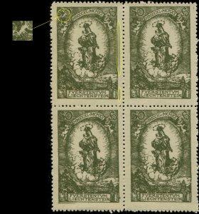 LIECHTENSTEIN 1920 Mi.40.IV weisser Strich durch 50 in block of four Mint **