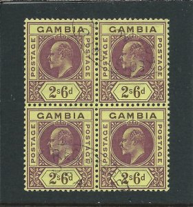 GAMBIA 1902-05 2s6d PURPLE & BROWN/YELLOW BLK OF 4 FU SG 55 CAT £280