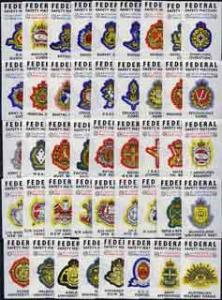 Match Box Labels - complete set of 44 Australian Military...