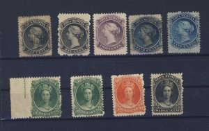 9x Nova Scotia M & U Stamps #8-8-9-10-10-11-11-12-13 Guide Value = $195.00