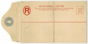 BARBADOS QUEEN VICTORIA UNUSED REGISTERED LETTER ENVELOPE TWO PENCE REGISTRATION
