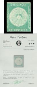 URUGUAY 1856  DILIGENCIAS  80c green  Scott # 2  mint MH VF good margins w/Cert.