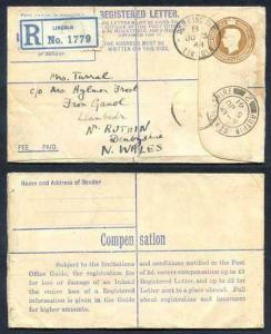 RP52 KGVI 5 1/2d Brown Registered Envelope Size F Used