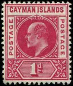 Cayman Islands SC# 9 SG# 9 Edward VII 1d wmk 3 MH