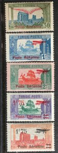 1920-7 Tunisia Airmails Sc# C2-6 MNH