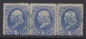 US, Sc 156, used strip of three, blue cancels (CV $17.25)