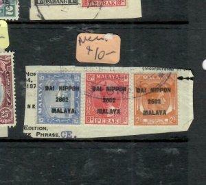 MALAYA JAPANESE OCCUPATION  PERAK (P1707B) DN 8C+SEL 15C+STRAITS 2C PIECE VFU