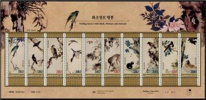 2021 South Korea  Folding Screen Paintings of Birds MS10 (Scott NA) MNH